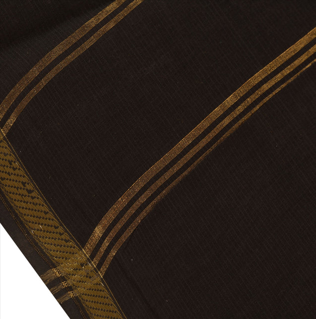 New Indian Saree Cotton Woven Black Craft Fabric Sari With Blouse Piece