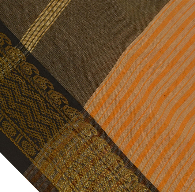 New Indian Saree Cotton Woven Peach Craft Fabric Sari With Blouse Piece