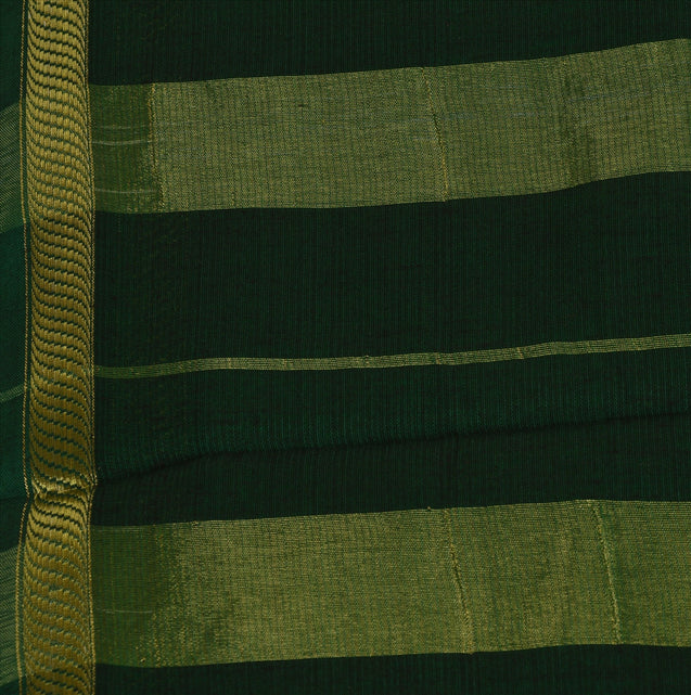New Indian Saree Cotton Woven Green Craft Fabric Sari With Blouse Piece