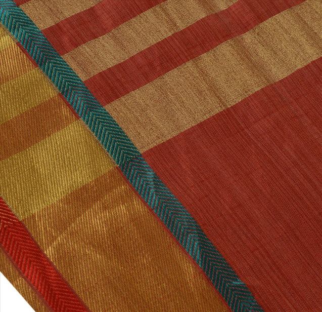 New Indian Saree Cotton Woven Maroon Craft Fabric Sari With Blouse Piece