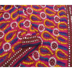 Sanskriti Purple Heavy Dupatta Georgette Hand Embroidered Phulkari OOAK Stole