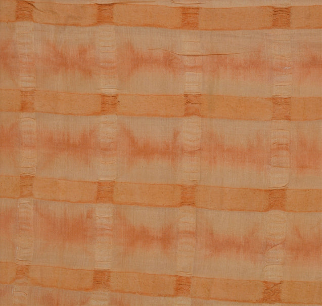 Sanskriti Antique Vintage 100% Pure Silk Saree Cream Printed Sari Craft Fabric