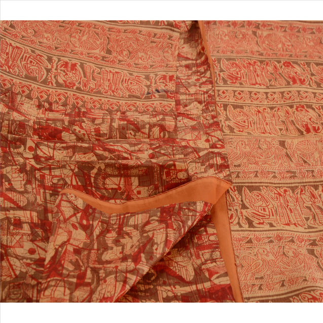 Sanskriti Vintage 100% Pure Silk Saree Peach Printed Sari Craft Fabric 5 Yard