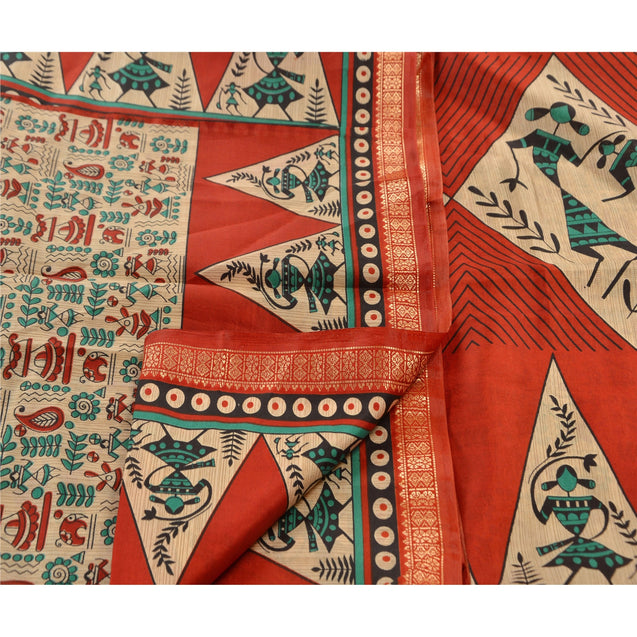 Sanskriti Indian Vintage Printed Saree Art Silk Decor Fabric Craft Orange Sari
