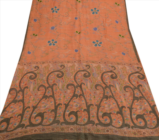 Sanskriti Indian Vintage Printed Saree Cotton Blend Fabric Craft Peach Sari