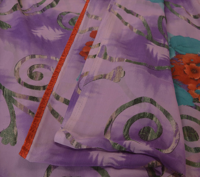 Sanskriti Vintage Georgette Saree Purple Digital Printed Sari Dress 5 Yd Fabric
