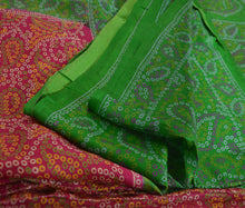 Load image into Gallery viewer, Sanskriti Vintage 100% Pure Silk Saree Pink Printed Sari Paisley Craft Fabric