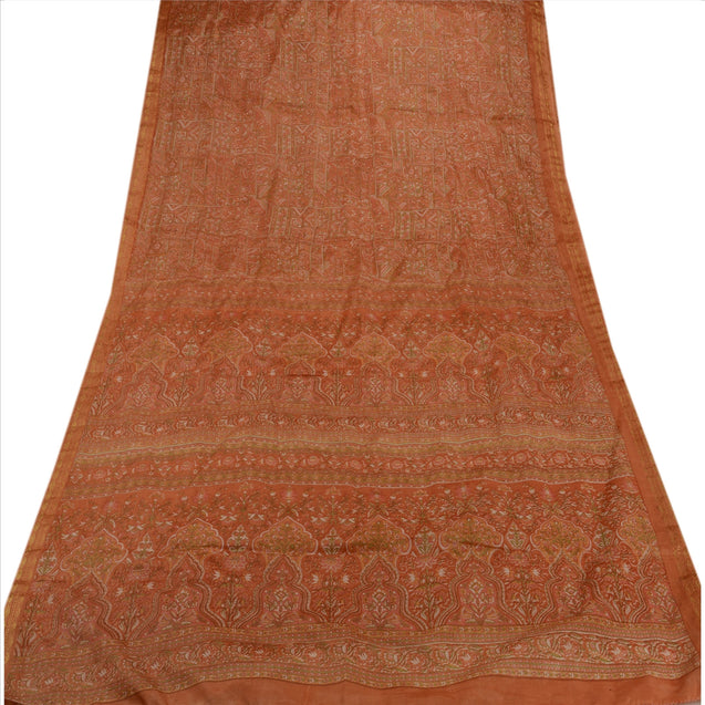 Sanskriti Indian Vintage Floral Printed Saree Art Silk Craft Fabric Peach Sari