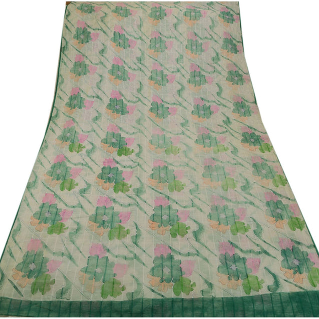 Vintage Indian Floral Painted Saree Art Silk Craft Fabric White Decor 5 Yd Sari