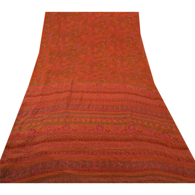 Sanskriti Vintage 100% Pure Silk Saree Orange Floral Printed Sari Craft Fabric