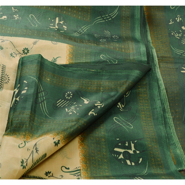 Sanskriti Vintage Indian Art Silk Saree Cream Printed Sari Craft Decor Fabric