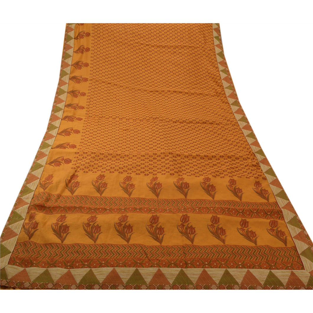 Sanskriti Vintage Cotton Saree Dark Yellow Printed Sari Craft 5 Yard Deco Fabric