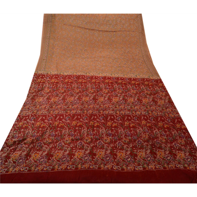 Sanskriti Vintage Silk Blend Ethnic Saree Brown Printed Sari Craft Ethnic Fabric