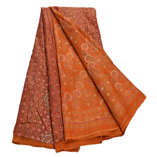 Sanskriti Vintage 100% Pure Cotton Saree Orange Painted Sari Craft 5 Yard Fabric