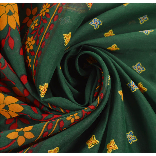 Sanskriti Vintage Art Silk Saree Green Printed Sari Craft Decor 5 Yard Fabric