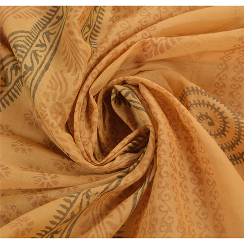 100% Pure Cotton Saree Brown Block Printed Sari Craft Fabric