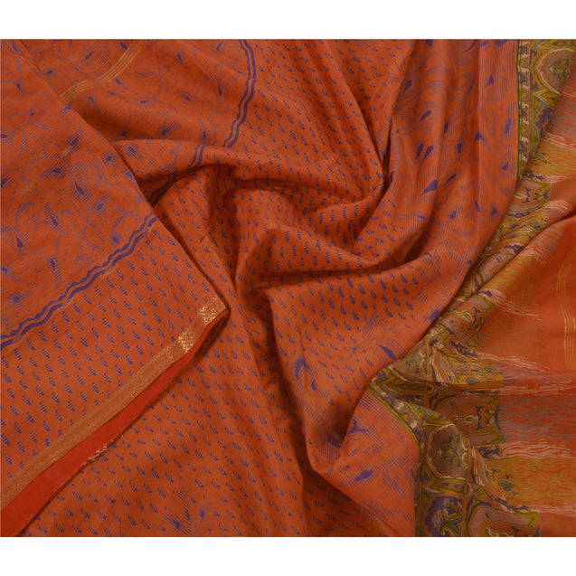 Orange Saree 100% Pure Silk Printed Sari Craft 5 Yard Fabric