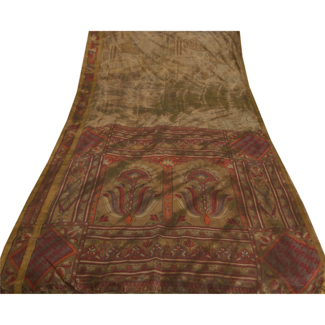 Brown Saree Pure Silk Printed 5 Yd Leheria Sari Craft Fabric