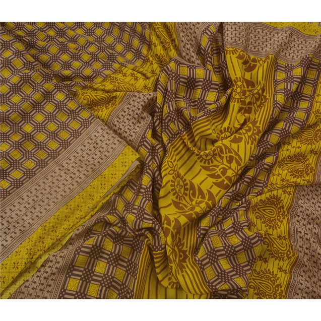 Yellow Saree Art Silk Floral Printed Craft Fabric 5 Yard Sari