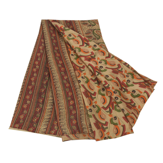 Cream Saree Pure Silk Printed Sari Craft 5 Yard Soft Fabric