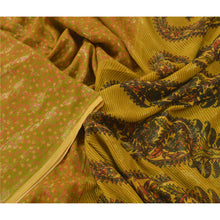 Load image into Gallery viewer, Sanskriti Vintage Mustard Sarees 100% Pure Chinon Silk Printed Sari Fabric Craft