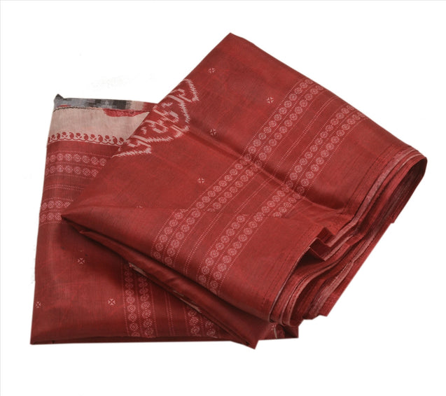 Sanskriti Indian Vintage Printed Saree Art Silk Fabric Ethnic Craft Maroon Sari