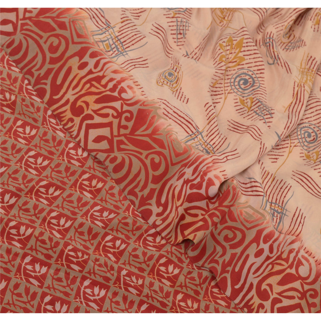 Sanskriti Vintage Peach Indian Sarees Pure Crepe Silk Printed Sari Craft Fabric