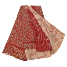 Load image into Gallery viewer, Sanskriti Vintage Peach Indian Sarees Pure Crepe Silk Printed Sari Craft Fabric