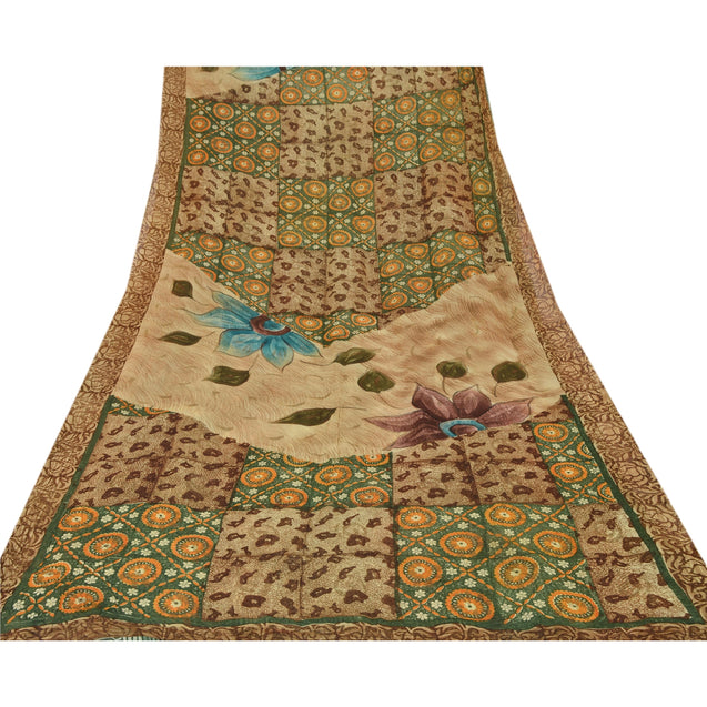 Sanskriti Vintage Blend Georgette Saree Green Printed Sari Craft Decor Fabric