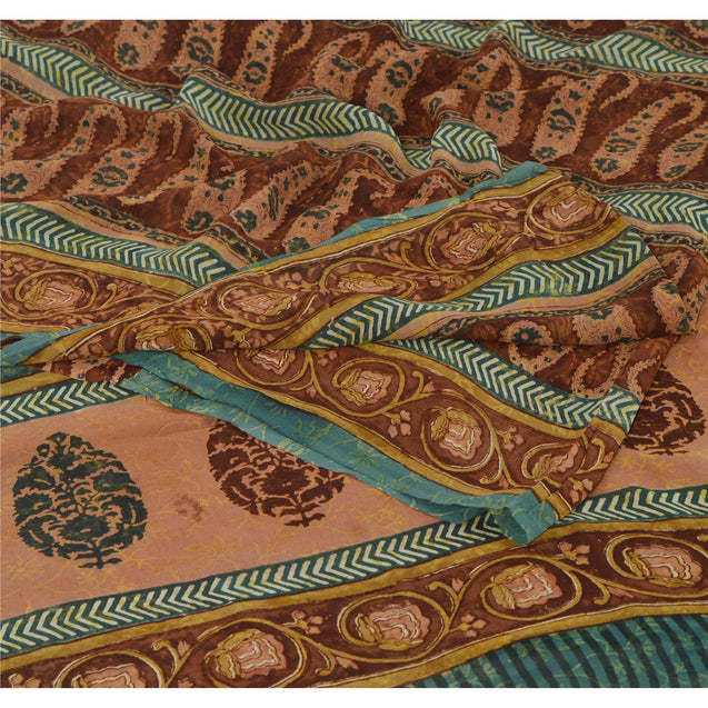 Sanskriti Vintage Brown Saree Pure Georgette Silk Printed Sari Craft 5 Yd Fabric