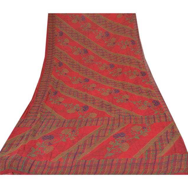 Sanskriti Vintage Printed Blend Georgette Saree Dark Red Sari Craft Fabric