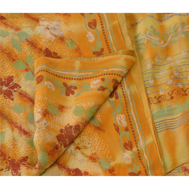 Sanskriti Vinatage 100% Pure Georgette Silk Leheria Saree Yellow Printed Sari Craft Fabric