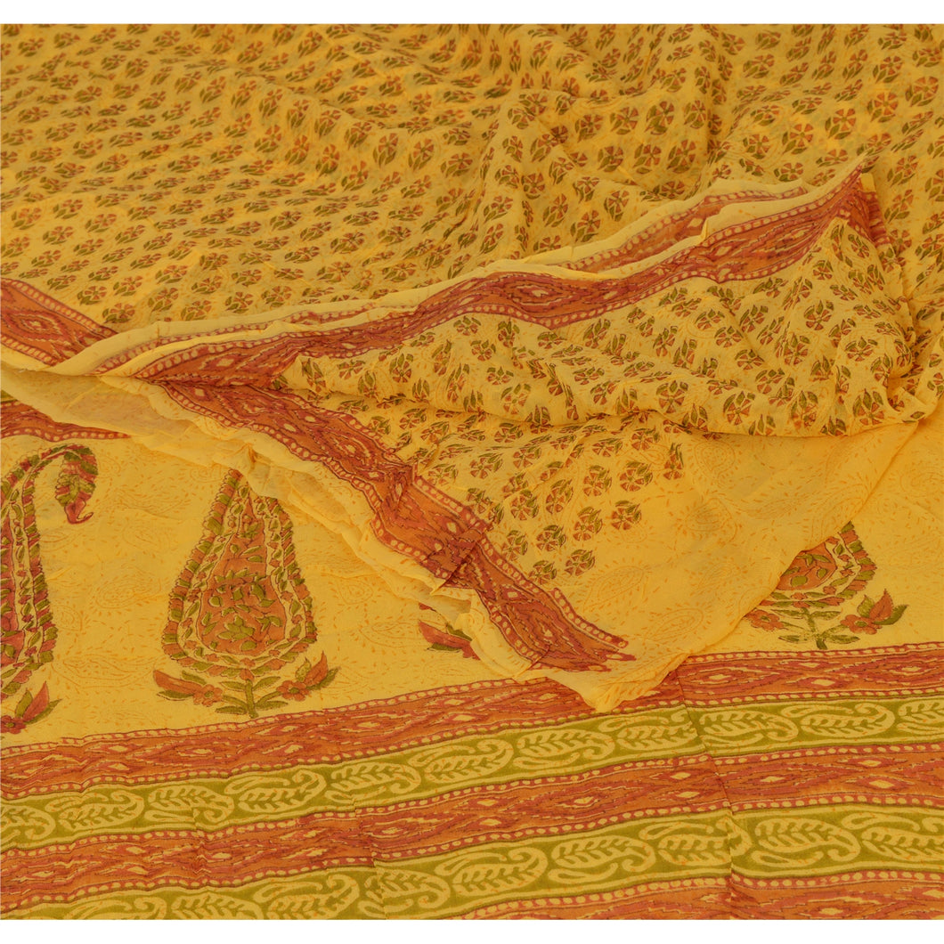 Sanskriti Vintage Yellow Saree Printed Blend Georgette Decor Sari Craft Fabric