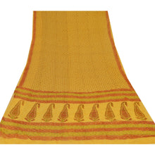 Load image into Gallery viewer, Sanskriti Vintage Yellow Saree Printed Blend Georgette Decor Sari Craft Fabric