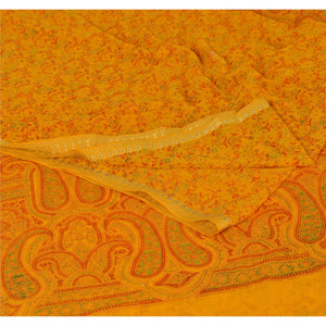 Sanskriti Vintage Yellow Saree Printed Chiffon Silk Zari Border Sari Deco Fabric