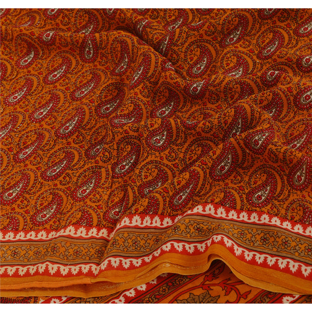 Sanskriti Vintage Orange Saree Pure Georgette Silk Printed Sari Craft 5Yd Fabric