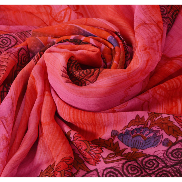 Sanskriti Vintage Pink Saree Blend Georgette Printed 5 Yard Sari Craft Fabric