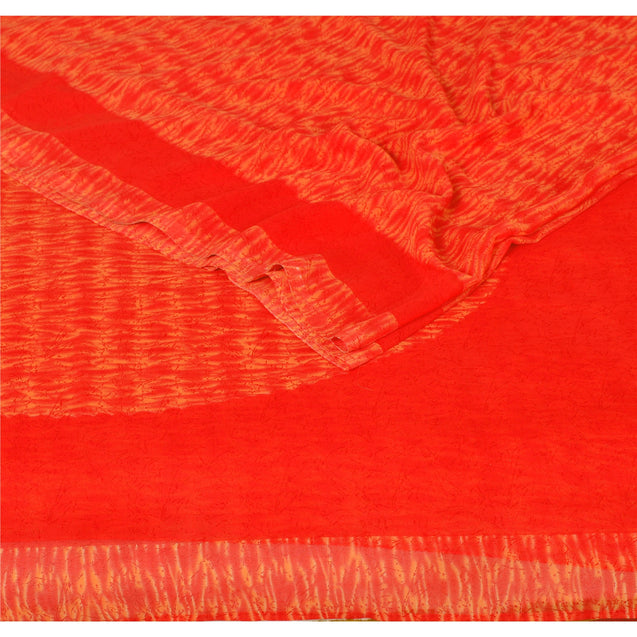 Sanskriti Vintage Red Saree Blend Georgette Leheria Sari Craft 5 Yard Fabric