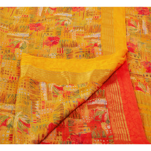 Sanskriti Vinatage Indian Printed Chiffon Silk Saree Saffron Dress Making Sari Craft Fabric