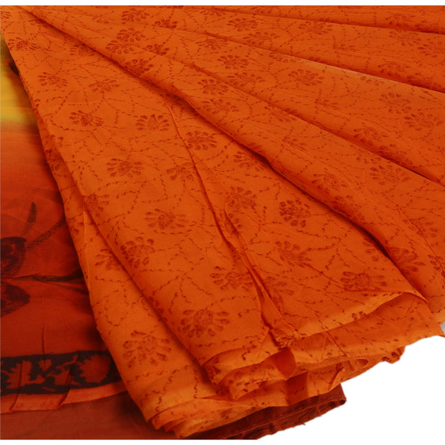 Sanskriti Vintage Printed Georgette Blend Saree Orange Dress Making Sari Craft Fabric