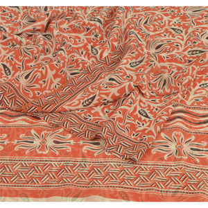 Sanskriti Vintage Peach Saree Georgette Printed Sari 5 Yard Craft Decor Fabric