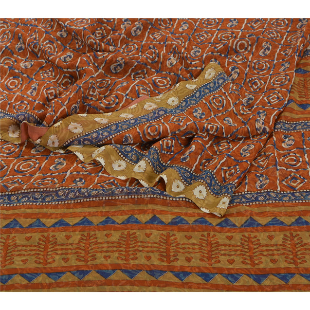 Sanskriti Vinatage Sanskriti Vintage Indian Sari Orange Georgette Printed Sarees Craft 5 YD Fabric