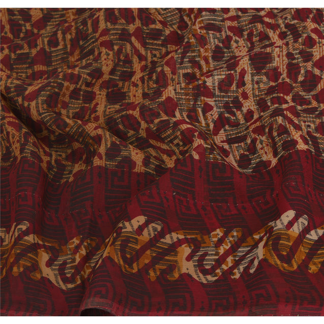 Sanskriti Vinatage Sanskriti Vintage Brown Sarees Pure Georgette Silk Printed Sari Craft Fabric