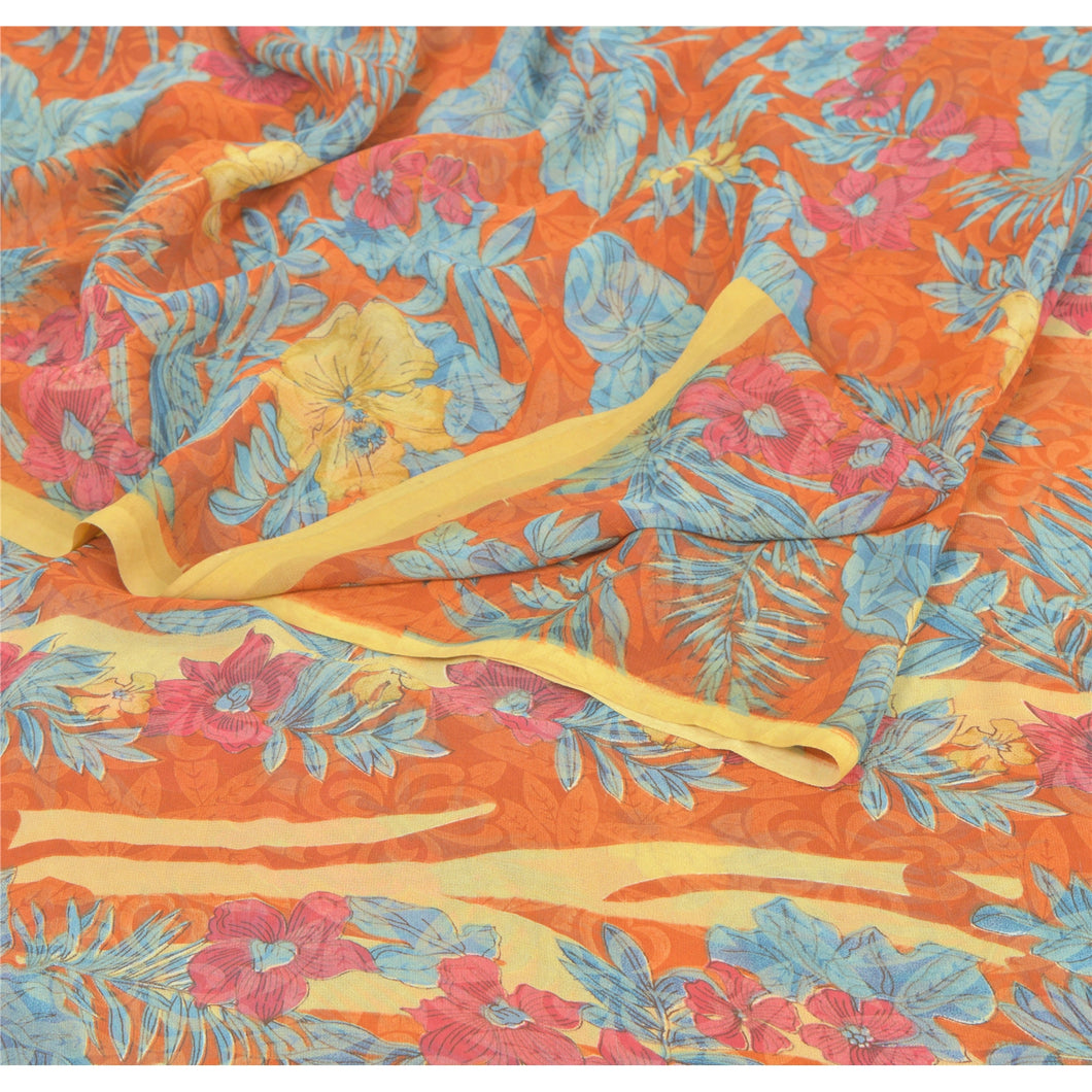 Sanskriti Vintage Orange Sarees Georgette Printed Indian Sari 5 Yd Craft Fabric