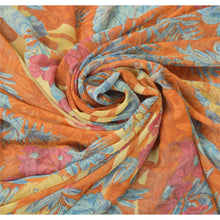 Load image into Gallery viewer, Sanskriti Vintage Orange Sarees Georgette Printed Indian Sari 5 Yd Craft Fabric
