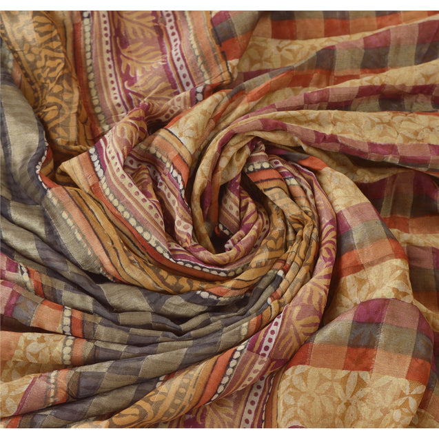 Sanskriti Vinatage Sanskriti Vintage Brown Saree Pure Georgette Silk Printed Sari 5 Yd Craft Fabric