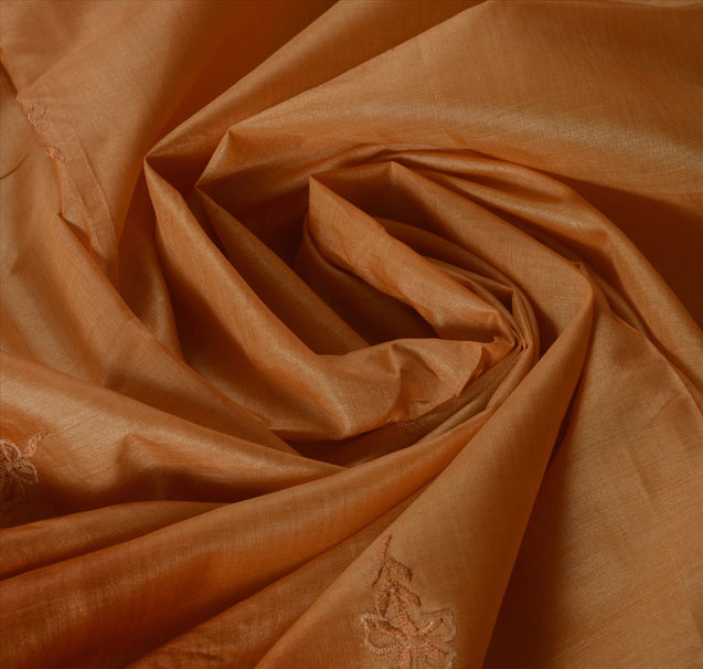 Vintage Indian Saree 100% Pure Silk Embroidered Orange Craft Fabric Sari