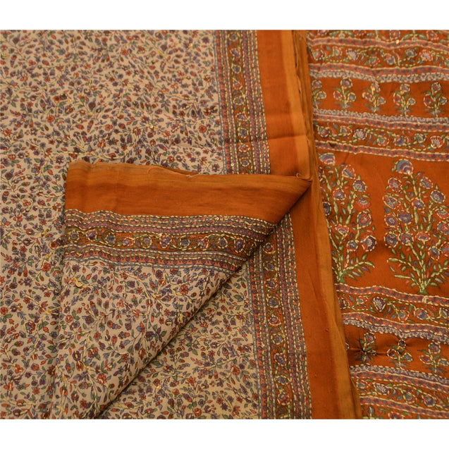 Vintage Indian Saree Art Silk Hand Embroidered Cream Craft Fabric Kantha Sari