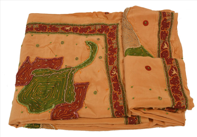 Antique Vintage Indian 100% Pure Georgette Silk Saree Hand Embroidery Sari