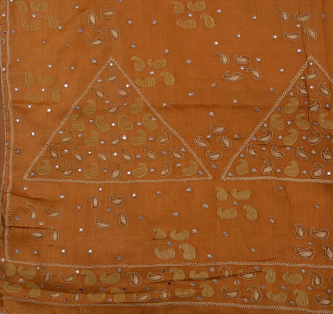 Sanskriti Antique Vintage Indian 100% Pure Silk Saree Hand Beaded Fabric Sari